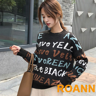 圓領字母圖紋長袖針織上衣 (共二色)-ROANN