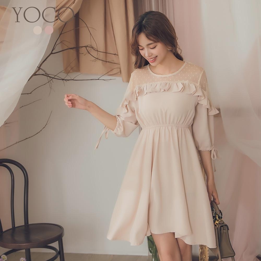 東京著衣-YOCO 浪漫芭比蕾絲拼接腰鬆緊傘襬洋裝-S.M.L(共二色)