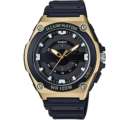 CASIO經典簡約立體三針三眼指針休閒錶-黑面x金框(MWC-100H-9)/46.7mm