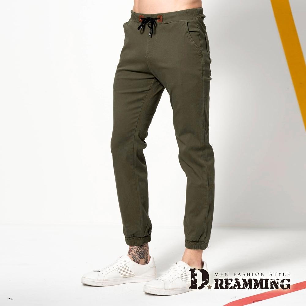 Dreamming 街頭潮流鬆緊抽繩束口休閒長褲 縮口褲 慢跑褲-兩款七色 (素面褐綠)