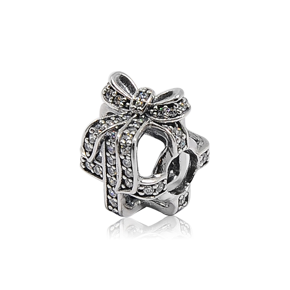 Pandora 潘朵拉 方型緞帶鑲鑽鏤空禮物 純銀墜飾 串珠