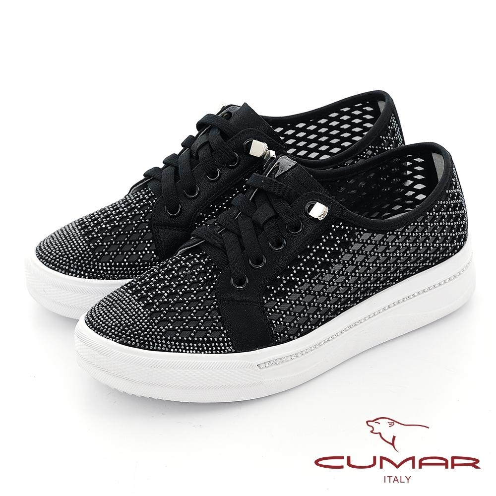 【CUMAR】透膚網狀排鑽厚底台休閒鞋-黑