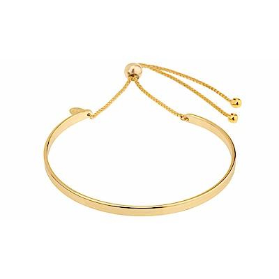 SHASHI 紐約品牌 Sonia Cuff 金色平衡骨手環 亮面優雅圓弧 可調式手圍