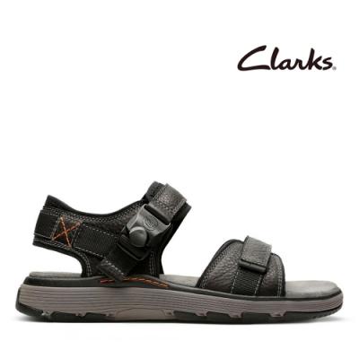 Clarks UN 側邊迴彈式磁扣可調整設計男士涼鞋 黑色