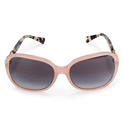 COACH 雙C LOGO綴飾琥珀色鏡架抗UV太陽眼鏡-粉紅/金