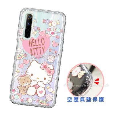 三麗鷗授權 Hello Kitty凱蒂貓 realme 6 愛心空壓手機殼(吃手手)