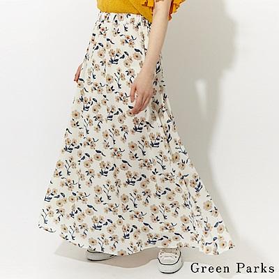 Green Parks 花朵圖案打褶長裙