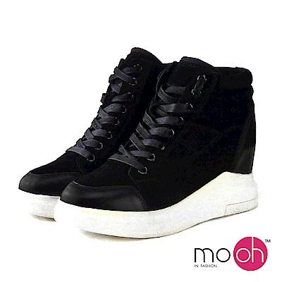 mo.oh-全真皮-內增高牛皮厚底休閒鞋-黑色