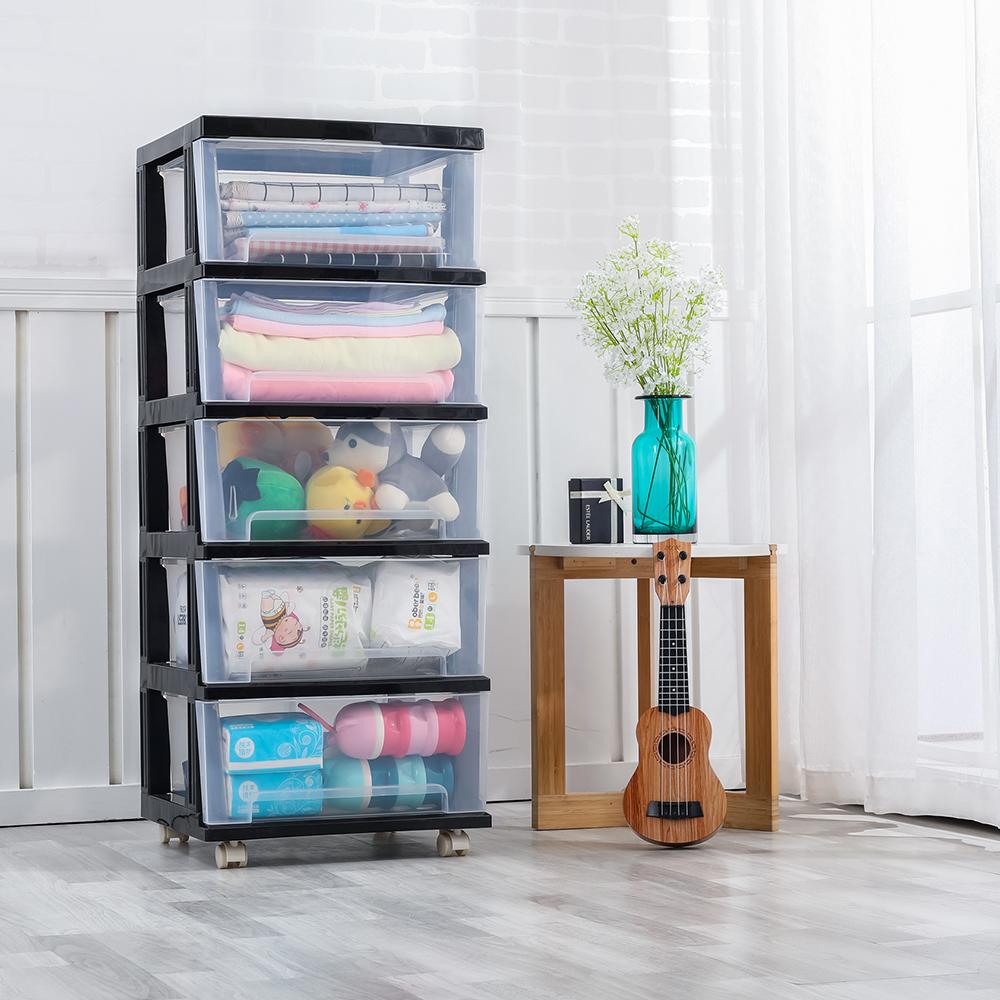【Mr.box】40面寬 時尚透明五層抽屜收納櫃-DIY附輪