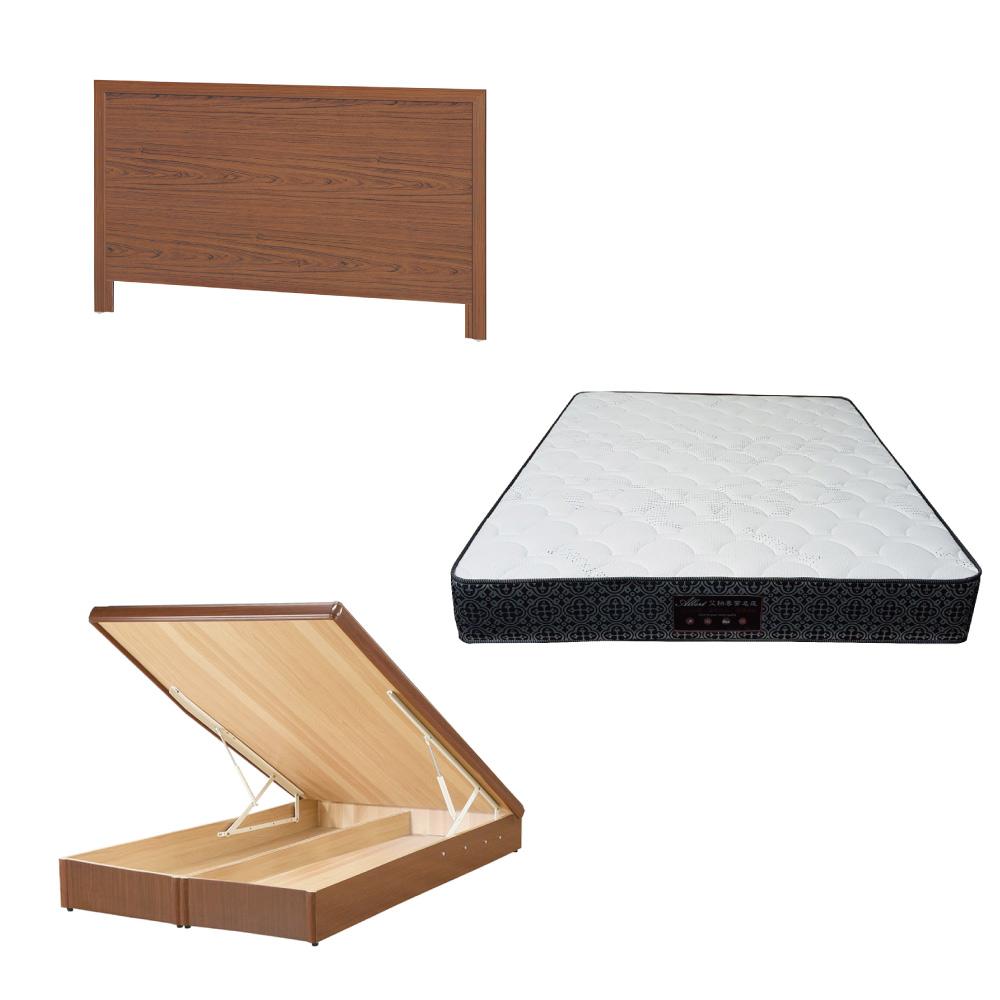 綠活居 梅可6尺雙人加大床台三式組合(床頭片+後掀床底+防蹣抗菌獨立筒)五色可選