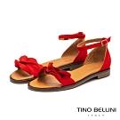 Tino Bellini啞光絨面荷葉邊平底涼鞋_紅