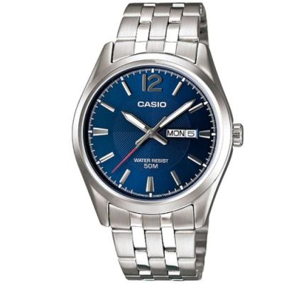 CASIO 簡約風格白領時尚不鏽鋼腕錶-藍(MTP-1335D-2A)/38mm
