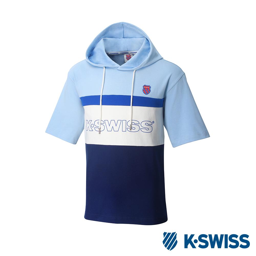 K-SWISS Hood T-Shirt短袖連帽上衣-男-淺藍