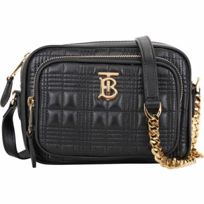 BURBERRY 格紋絎縫羔羊皮口袋相機包(黑色)