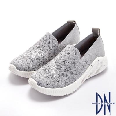 DN休閒鞋_水鑽拼接透氣針織輕盈襪套休閒鞋-灰
