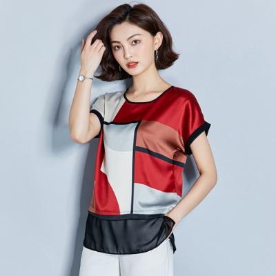 ALLK 緞面印花拼接上衣 紅色(尺寸M-XXL)