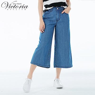 Victoria 中高腰天絲棉七分寬褲-女-藍色