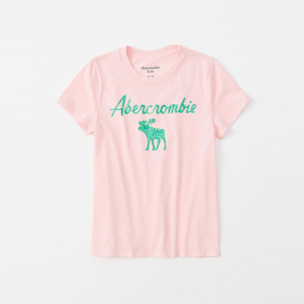 麋鹿 AF A&F 經典大麋鹿文字亮片短袖T恤(女青年款)-粉色