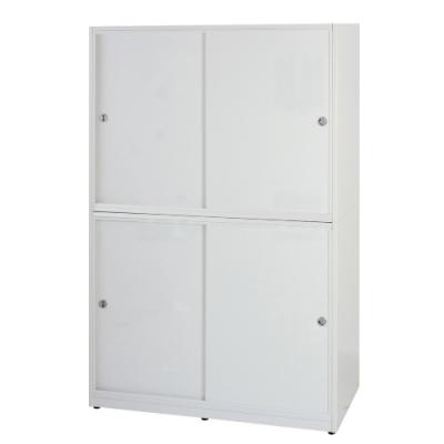 文創集 卡森環保4.1尺塑鋼推門雙吊桿衣櫃/收納櫃(四色)-124x61x200cm免組
