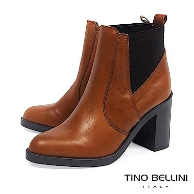 Tino Bellini義大利進口牛皮彈力帶拼縫高跟短靴_ 棕