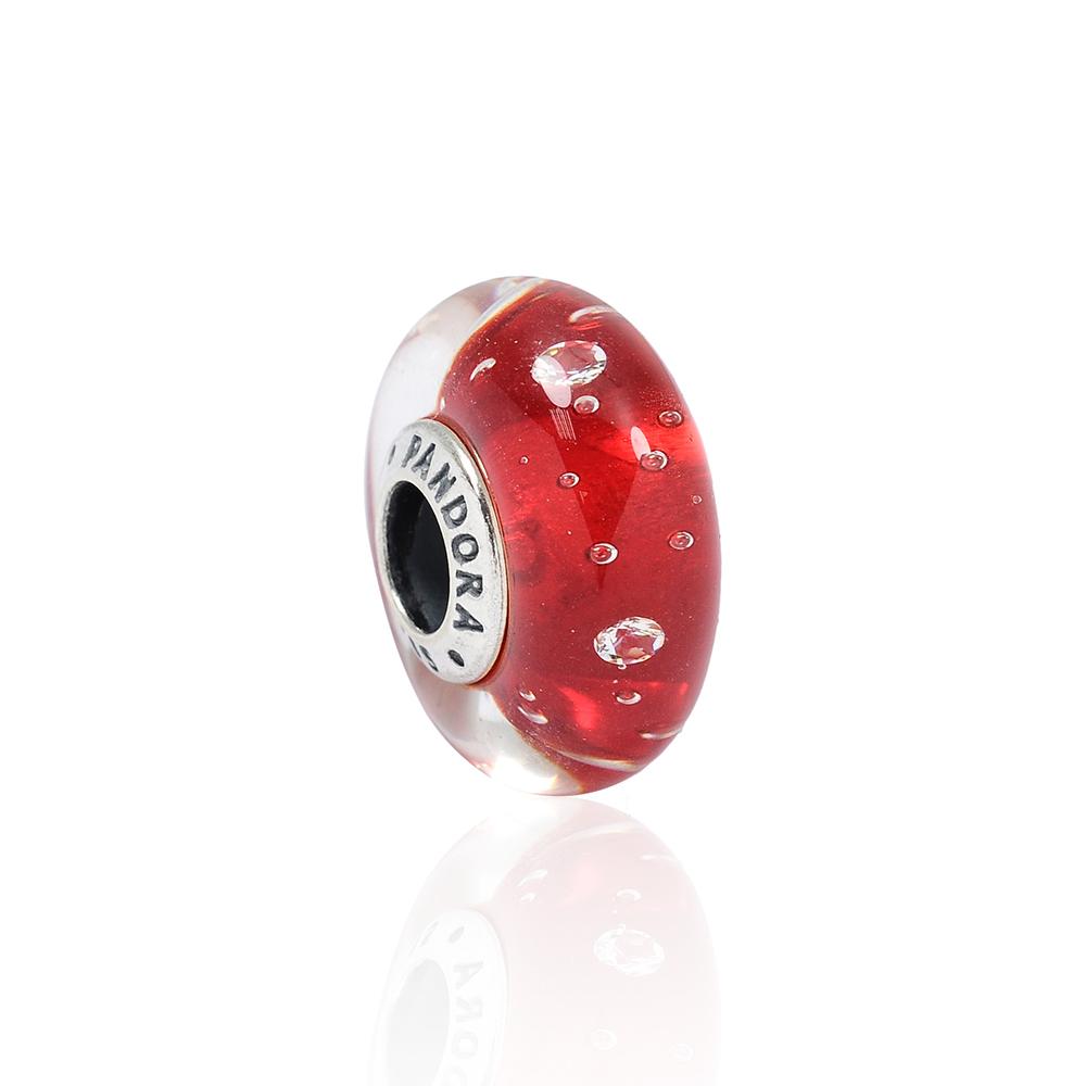 Pandora 潘朵拉 閃耀晶透泡泡紅色琉璃珠 純銀墜飾 串珠