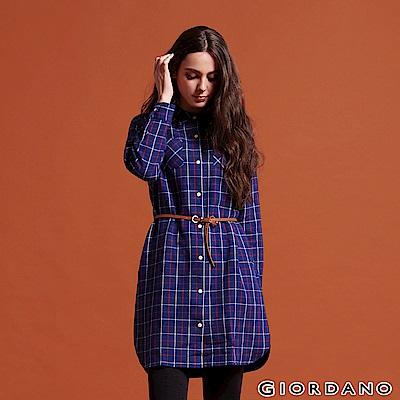 GIORDANO 女裝純棉法蘭絨雙口袋長袖襯衫連身裙-01 藍/紅/白