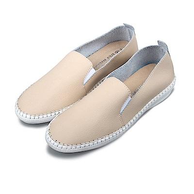 BuyGlasses 時尚微尖頭真皮懶人鞋-米