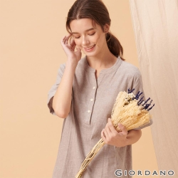 GIORDANO 女裝自然棉麻系列亨利領短袖連身裙-02 淺灰