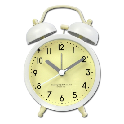 3吋 居家擺飾 復古雙鈴 超大鈴聲 辦公桌床頭 桌上型 鬧鐘 時鐘 - 黃綠色