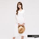 H:CONNECT 韓國品牌 女裝 - 優雅蕾絲長洋裝 - 白