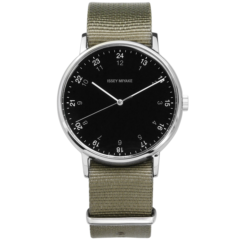 ISSEY MIYAKE 三宅一生 F系列 數字時標日本製造尼龍手錶-黑x灰綠/39mm