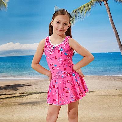 女童泳裝連身裙款式(T-803粉色)附泳帽-TiNyHouS