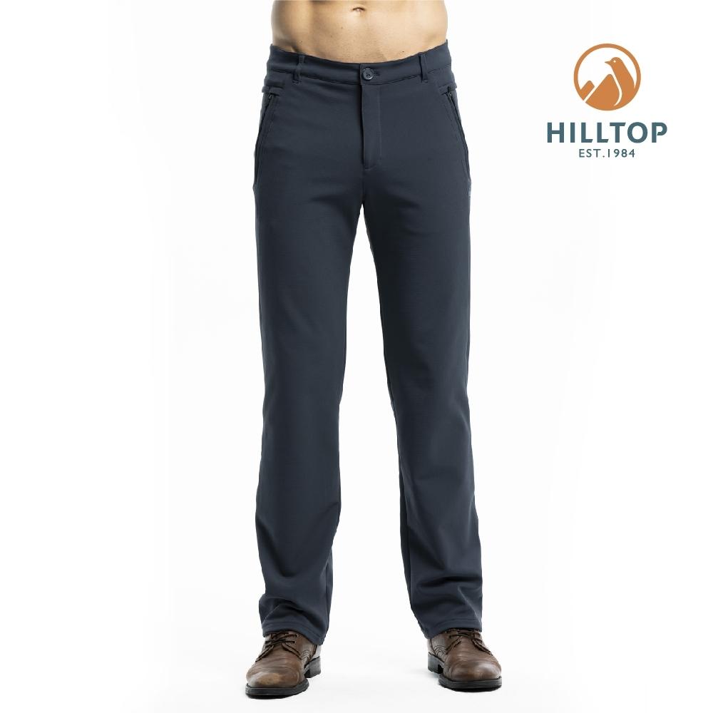 【hilltop山頂鳥】男款超潑水四面彈性保暖長褲H31ML7印墨色