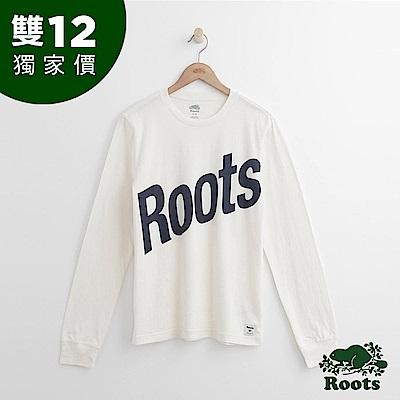 Roots 男裝-ROOTS 斜體字標長袖T恤-白