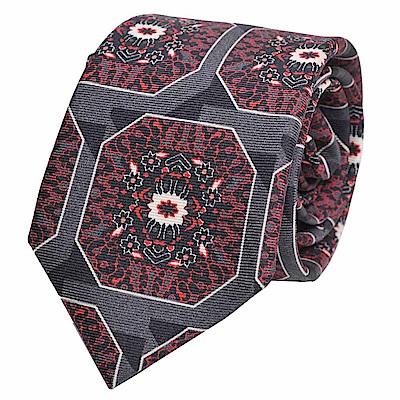 GUCCI 高質感紳士繽紛方塊圖騰窄版100%絲領帶(灰底)
