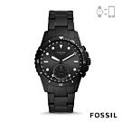 FOSSIL HYBIRD 智能手錶 FB-01-都會風尚雅黑不鏽鋼鍊帶 42MM FTW1196
