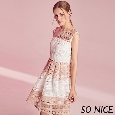 SO NICE優雅撞色鏤空蕾絲洋裝