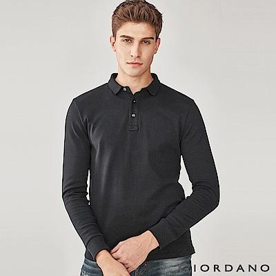 GIORDANO 男裝純棉磨毛素色長袖POLO衫-09 標誌黑