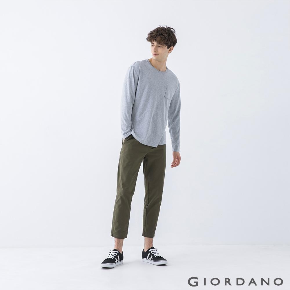 GIORDANO 男裝純棉厚磅口袋T恤 - 03 中花灰