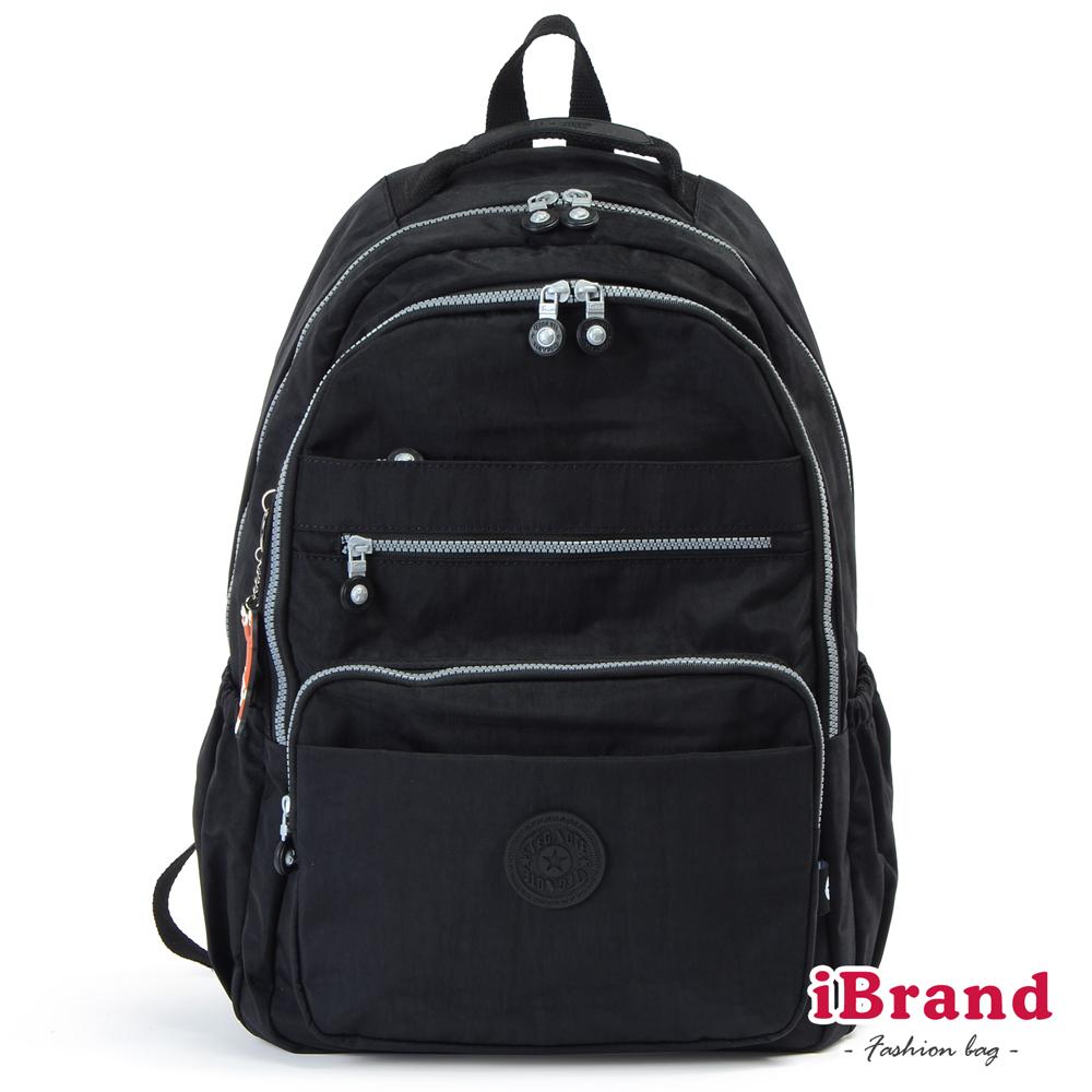 iBrand後背包 經典百搭超輕盈多口袋後背包(大)-百搭黑