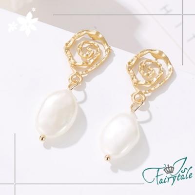iSFairytale伊飾童話 金鑌螺旋 不規則珍珠垂墜耳環