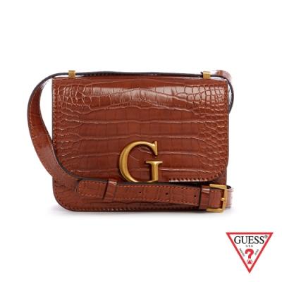 GUESS-女包-時尚鱷魚紋金屬LOGO肩背方包-咖 原價2490
