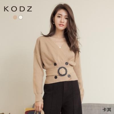 東京著衣-KODZ 淑女氣質V領附腰帶短版針織毛衣(共二色)