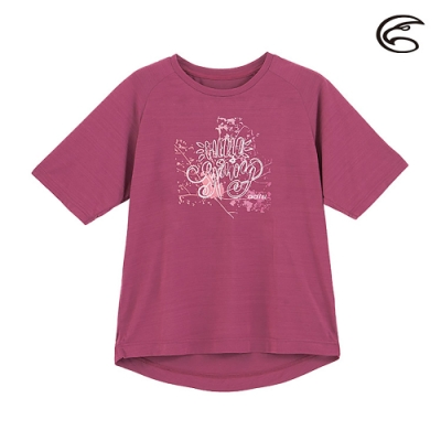 ADISI 女輕薄棉感圖騰圓領短袖排汗衣AL2011113 (S-2XL) 寶石紫