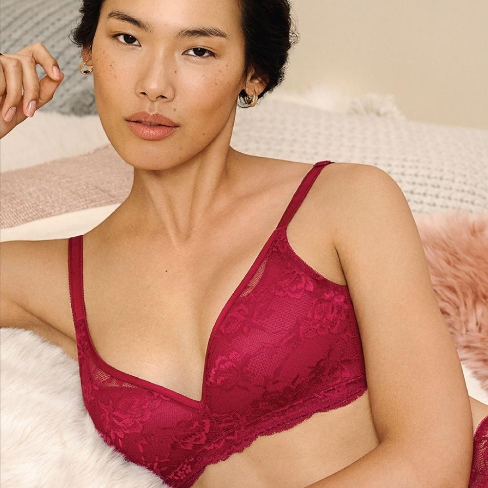 黛安芬-自然優雅系列無鋼圈美型 D罩杯內衣 舞紅色