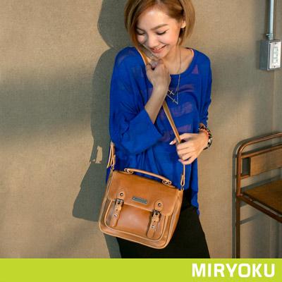 MIRYOKU-經典復古皮革系列 / 簡約復古風斜揹包-駝
