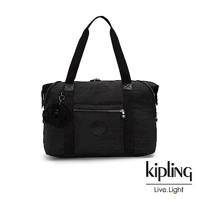 Kipling 沉靜黑素面手提側背包-ART M-ESSENTIAL系列