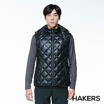 【HAKERS 哈克士】男款 羽絨背心(黑色)