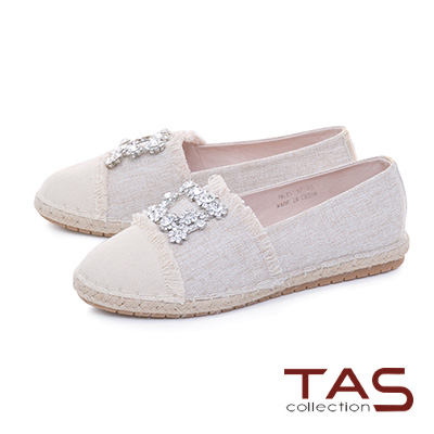 TAS方形水鑽不修邊拼接草編休閒鞋-清感米
