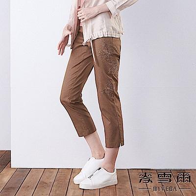 【麥雪爾】棉質水鑽蝴蝶彈力八分褲